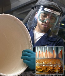 Worker handling a bucket wearing gloves and eye protection; inset image represents high-throughput liquid handling