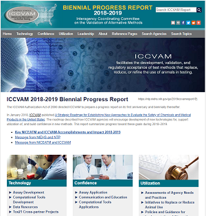 Screenshot of home page of ICCVAM 2018-2019 Biennial Report
