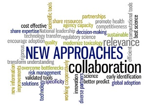 Word cloud representing key concepts identified in the February 2017 meeting: new approaches, collaboration, innovation, partnerships, relevance, best science