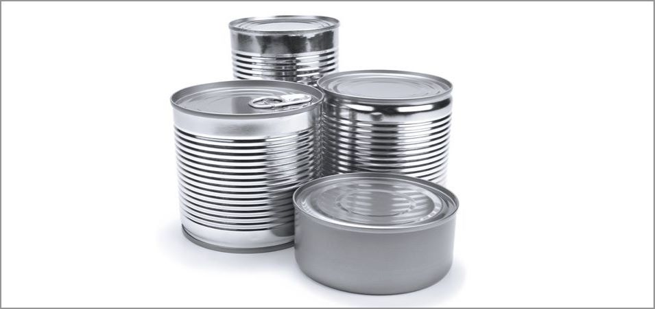 Various sizes of metal food container cans