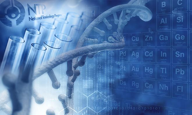 Image of test tubes and DNA strand with part of periodic table in the background