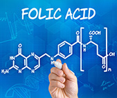 hand drawing the chemical structure of Folic Acid