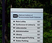 Directions sign on NIEHS main campus