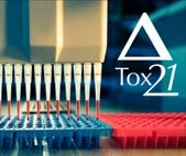 High-throughput toxicity testing pipettes with Tox21 logo superimposed on background